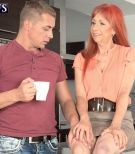 Leggy redhead MILF on the other side of 60 giving kitchen handjob and blowjob