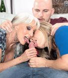 Nasty Sixty plus MILFS Sally D'Angelo and Luna Azul providing huge hard-on blowjob in threeway