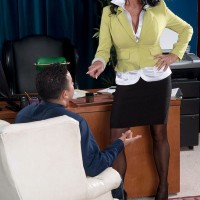 Skirt and nylon clad mature secretary Rita Daniels fucking young man in office