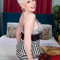 Short haired grandmother Jewel having sex with man half her age