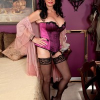Busty MILF over 60 Rita Daniels flaunting mature pussy in lingerie and stockings