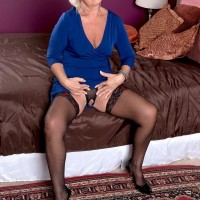 Grey haired granny Jeannie Lou flashing pussy and big natural mature tits