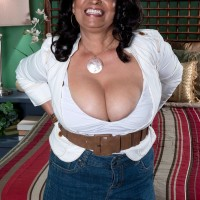 Chubby MILF 60 plus Rochelle Sweet having nice melons exposed for nipple sucking