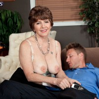 Pantyhose adorned over 60 model Bea Cummins letting big naturals loose