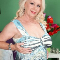 Blonde MILF over 60 Angelique DuBois and her pierced nipples jerking cock