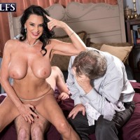 Buxom mature pornstar Rita Daniels funbag screwing and riding on top of immense wood