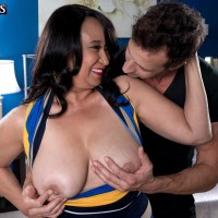 Elderly dark-haired broad Rochelle Sweet revealing huge all-natural boobies for nipple sucking