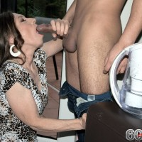 Fully clothed granny Mona seducing younger boy by delivering his gigantic sausage blowjobs