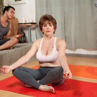 Huge-boobed sixty plus MILF Bea Cummins unsheathing huge titties in spandex pants and g-string underwear