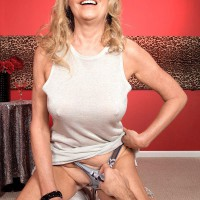 Huge-titted ash-blonde older gal Bethany James showcasing humungous boobies and upskirt skivvies