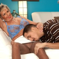 Nylons wearing 70 plus MILF Sandra Ann baring huge tits before sex with junior guy