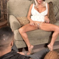 Over 60 MILF Sally D'Angelo whipping out massive juggs before delivering humungous dick blow job
