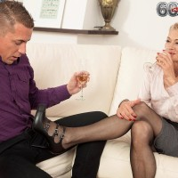 Provocative elder lady Beata gives a ball slurping oral pleasure after seducing a junior guy