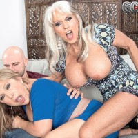 Sixty plus MOMS Sally D'Angelo and Luna Azul give a dual hj and blowjob
