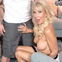 Spindly over 60 blond MILF Erica Lauren whipping out immense aged fun bags and bald vag