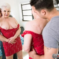Stocking clothed Sixty plus MOM Jewel revealing enormous melons before giving humungous junk a BJ