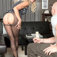 Stocking wearing MILF over 60 Erica Lauren showcasing beautiful butt and enormous aged titties
