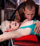Kinky granny Jewel submits to dungeon master in sexy latex outfit and nylons