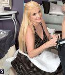 Blonde 60 plus MILF in maid uniform seducing big cock for hardcore fuck session