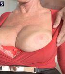 Leggy blonde Madison Milstar having huge 60 plus MILF boobs sucked upon
