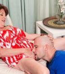 Mature BBW Gabriella LaMay baring large granny tits before giving big cock BJ