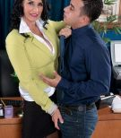 Older businesswoman seduces a younger Latino boy while in her office