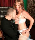 Seductive MILF over Sixty Lexi McCain seducing junior boy in milky hose and lingerie