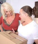 Aged blond XXX actress Madison Milstar unleashing giant natural juggs before gonzo sex