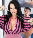 Over sixty MILF Rita Daniels seduces her stepson and jerks his cock after disrobing him