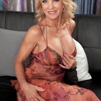 Busty blonde lady Cara Reid having huge knockers felt up by man