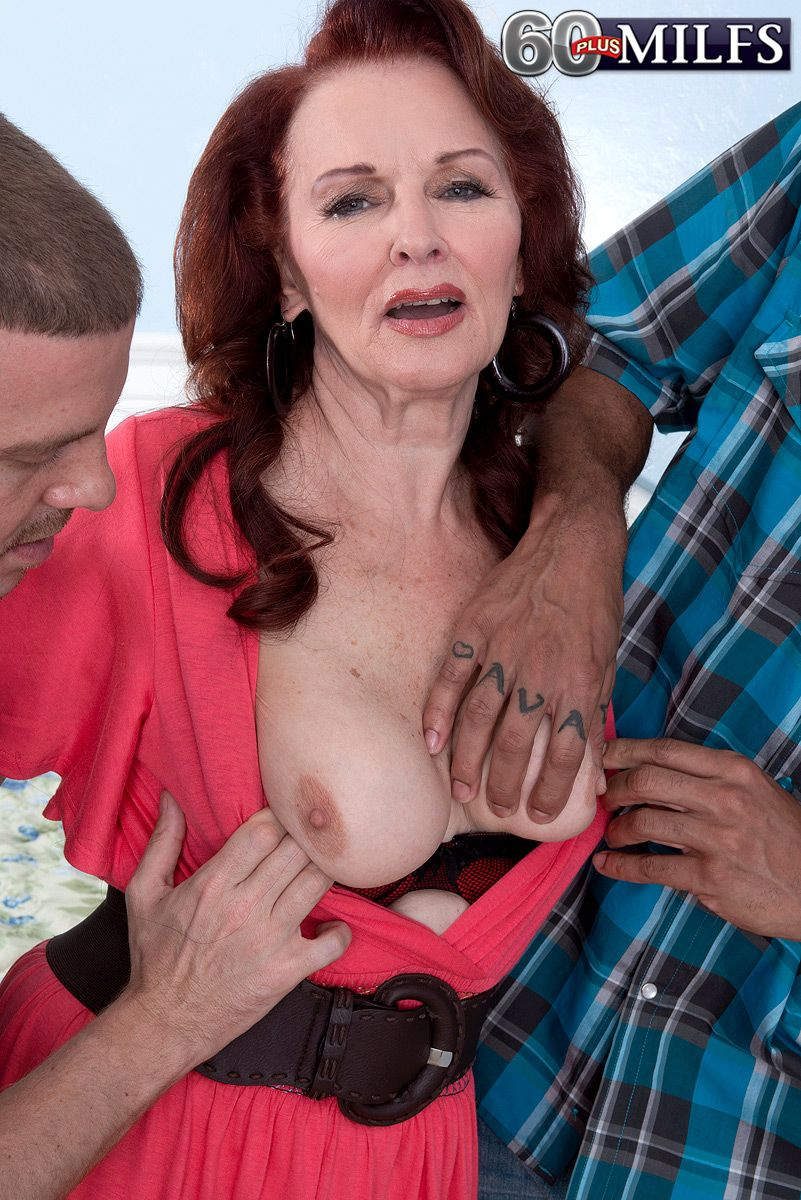 Naughty 60+ granny Katherine Merlot getting fucked by black and white dick in MMF 3some