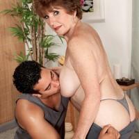 Barefoot MILF 60+ Bea Cummins baring big breasts for yoga instructor
