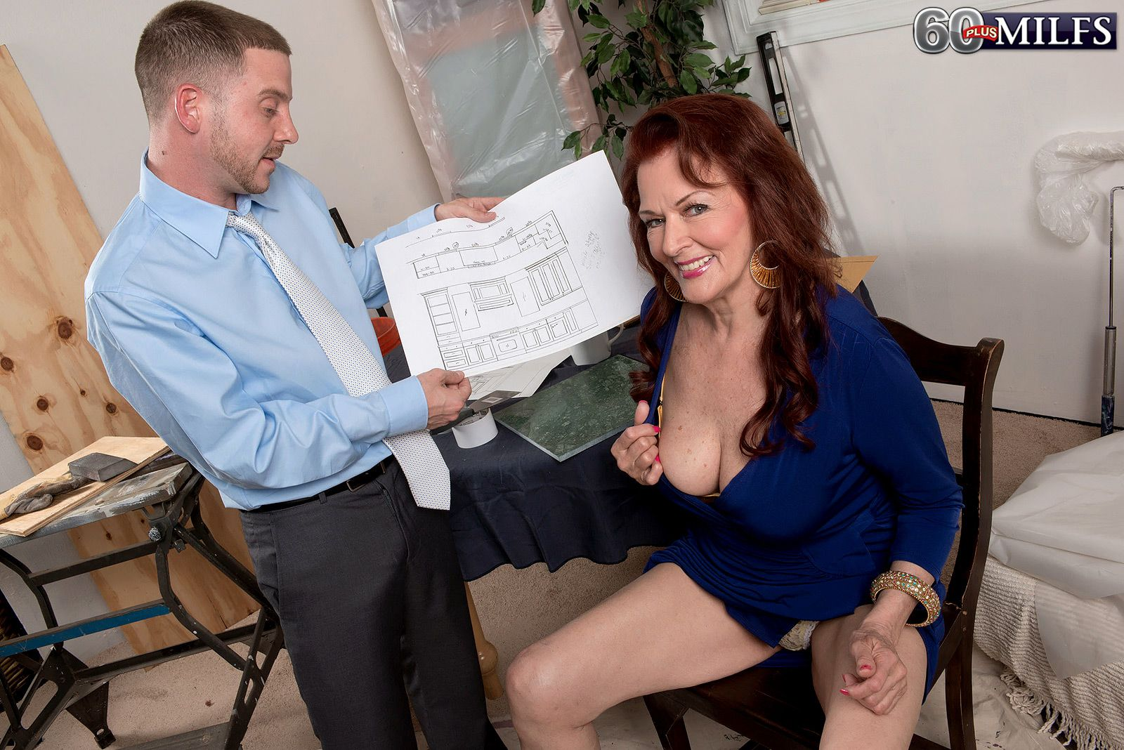 60+ redheaded MILF Katherine Merlot flashing upskirt panties at work
