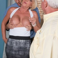 Buxom blonde granny over 60 Scarlett Andrews sucking dick in front of cuckold