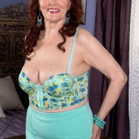 Aged lady Katherine Merlot baring big saggy breasts in stockings and high heels