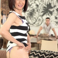 Asian 60+ MILF Kim Anh strips down to sexy lingerie and thong panties