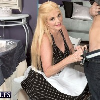 Blonde 60 plus MILF in maid uniform seducing big cock for hardcore fuck session