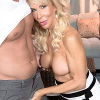 Hot MILF over 60 is stripped naked for pussy licking from her younger lover