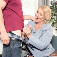 Thick 60 plus blonde woman gives a much younger man a blowjob while at work