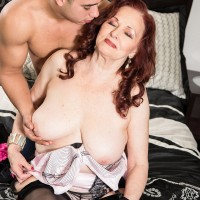 Over 60 lady with red hair seduces the neighbor's boy under false pretenses