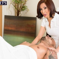 Hot older Asian nurse gets totally naked and atop a patient's big dick