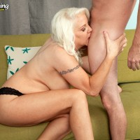 Busty blonde 60 plus MILF Veronica Vaughn flaunting big butt before riding cock