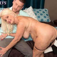 Blonde grandmother exposes her big butt before a boy strips her naked