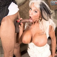 Busty 60 Plus MILF Sally D'Angelo jerks off and blows large black cock