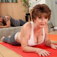 Sports bra and yoga pant attired MILF 60 plus Bea Cummins having big tits exposed