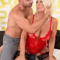 Hot over 60 pornstar Regi giving younger man a blowjob and tit fuck
