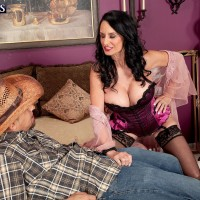 Hot 60 plus GILF seduces her daughter's husband in sexy satin lingerie and nylons