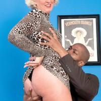 Over 60 amateur MILF blowing big black cock during hardcore interracial sex