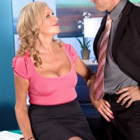 Hot 60 MILF with blonde hair seduces a man in a miniskirt and pantyhose
