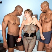 Chesty over 60 MILF Bea Cummins fucking two hung black cocks in MMF 3some